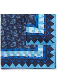 dunkelblaues Einstecktuch mit Paisley-Muster von Etro