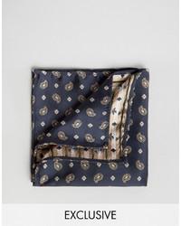dunkelblaues Einstecktuch mit Paisley-Muster von Reclaimed Vintage