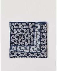 dunkelblaues Einstecktuch mit Paisley-Muster von Selected