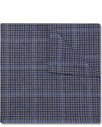 dunkelblaues Einstecktuch mit Schottenmuster von Oliver Spencer