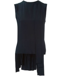 dunkelblaues Seide Trägershirt mit Falten von Marni
