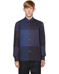 dunkelblaues Flanell Langarmhemd mit Karomuster