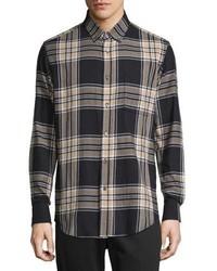 dunkelblaues Flanell Langarmhemd mit Schottenmuster