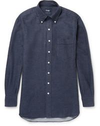 dunkelblaues Flanell Langarmhemd von Drakes