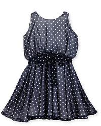 dunkelblaues gepunktetes Kleid