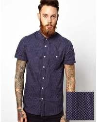 dunkelblaues gepunktetes Kurzarmhemd