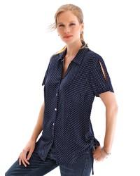 dunkelblaues gepunktetes Kurzarmhemd von Anna Aura