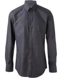 dunkelblaues gepunktetes Langarmhemd