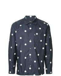 dunkelblaues gepunktetes Langarmhemd von A.P.C.