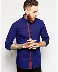 dunkelblaues gepunktetes Langarmhemd von Asos