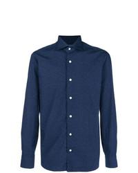 dunkelblaues gepunktetes Langarmhemd von Barba