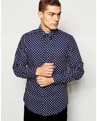 dunkelblaues gepunktetes Langarmhemd von Ben Sherman