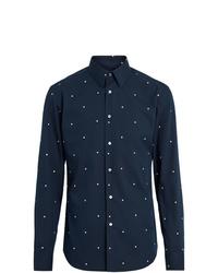 dunkelblaues gepunktetes Langarmhemd von Burberry