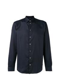 dunkelblaues gepunktetes Langarmhemd von Emporio Armani