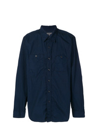 dunkelblaues gepunktetes Langarmhemd von Engineered Garments