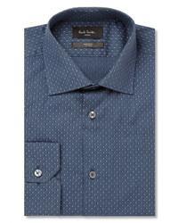 dunkelblaues gepunktetes Langarmhemd von Paul Smith