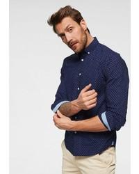 dunkelblaues gepunktetes Langarmhemd von Pepe Jeans
