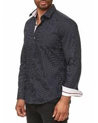 dunkelblaues gepunktetes Langarmhemd von RUSTY NEAL