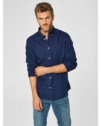 dunkelblaues gepunktetes Langarmhemd von Selected Homme