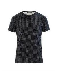 dunkelblaues gepunktetes T-Shirt mit einem Rundhalsausschnitt