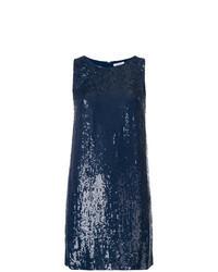 dunkelblaues gerade geschnittenes Kleid aus Paillette