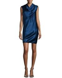 dunkelblaues gerade geschnittenes Kleid aus Seide