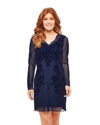dunkelblaues gerade geschnittenes Kleid aus Spitze von Joe Browns