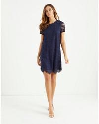 dunkelblaues gerade geschnittenes Kleid aus Spitze von Lipsy
