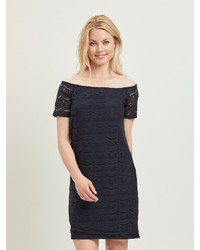 dunkelblaues gerade geschnittenes Kleid aus Spitze von Vila