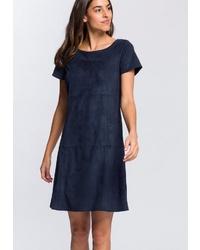 dunkelblaues gerade geschnittenes Kleid aus Wildleder von Esprit