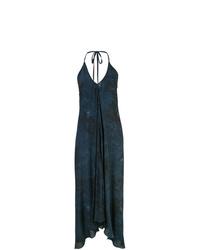 dunkelblaues gerade geschnittenes Kleid mit Batikmuster