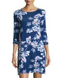 dunkelblaues gerade geschnittenes Kleid mit Blumenmuster