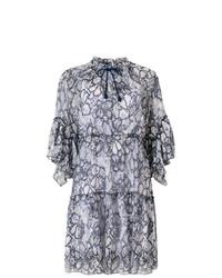 dunkelblaues gerade geschnittenes Kleid mit Blumenmuster von See by Chloe