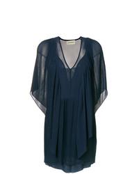 dunkelblaues gerade geschnittenes Kleid mit Rüschen von By Malene Birger