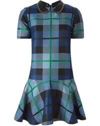 dunkelblaues gerade geschnittenes Kleid mit Schottenmuster von P.A.R.O.S.H.