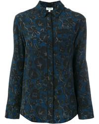 dunkelblaues Hemd mit Blumenmuster von Kenzo