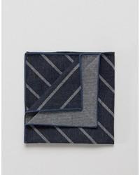 dunkelblaues horizontal gestreiftes Baumwolle Einstecktuch von Jack and Jones