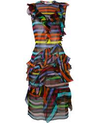 dunkelblaues horizontal gestreiftes gerade geschnittenes Kleid aus Seide von Givenchy