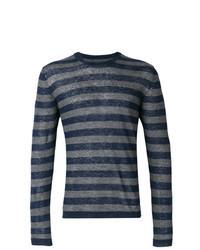 dunkelblaues horizontal gestreiftes Langarmshirt
