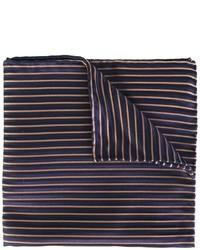 dunkelblaues horizontal gestreiftes Seide Einstecktuch von Armani Collezioni
