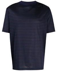 dunkelblaues horizontal gestreiftes T-Shirt mit einem Rundhalsausschnitt von Lanvin