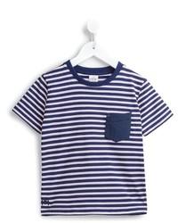 dunkelblaues horizontal gestreiftes T-shirt