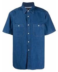 dunkelblaues Jeans Kurzarmhemd von Tommy Hilfiger