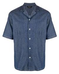 dunkelblaues Jeans Kurzarmhemd von Z Zegna