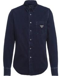 dunkelblaues Jeanshemd von Prada