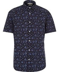 dunkelblaues Kurzarmhemd mit Blumenmuster