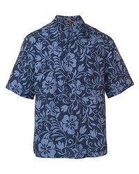 dunkelblaues Kurzarmhemd mit Blumenmuster von Barena