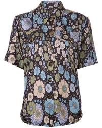 dunkelblaues Kurzarmhemd mit Blumenmuster von Marc Jacobs