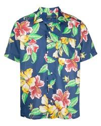 dunkelblaues Kurzarmhemd mit Blumenmuster von Polo Ralph Lauren
