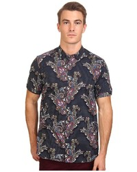dunkelblaues Kurzarmhemd mit Paisley-Muster